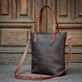 Женская сумка-шоппер из кожи/ Повседневная кожаная сумка