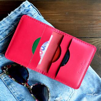 Женский мини кошелек из натуральной кожи розового цвета