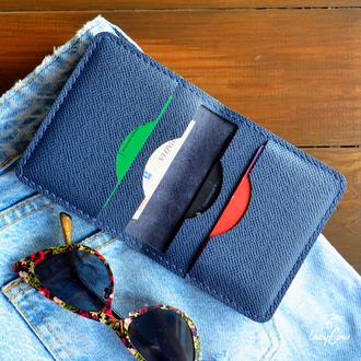 Женский мини кошелек из синей кожи