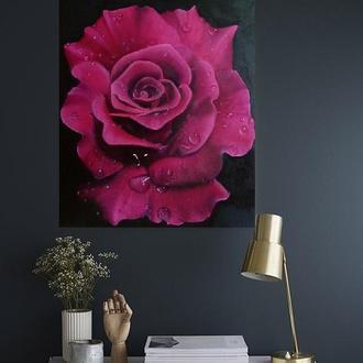 Картина интерьерная с большой бордовой розой