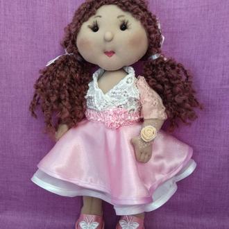 Интерьерная кукла, подарок для девочки, кукла в розовом платье