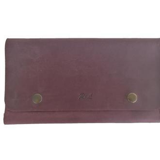 Женский бордовый кожаный бумажник х4 (10 цветов)