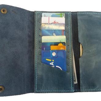 Женский голубой кожаный бумажник х4 (10 цветов)