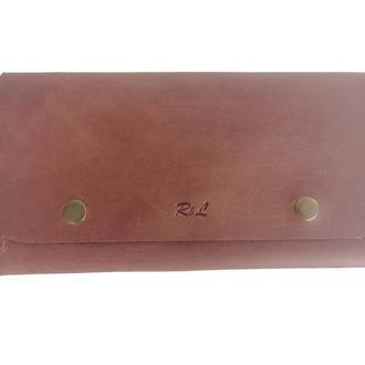 Коньячный кожаный бумажник х4 (10 цветов)