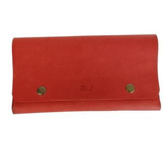 Женский красный кожаный бумажник х4 (10 цветов)