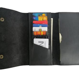 Чёрный кожаный бумажник х4 (10 цветов)