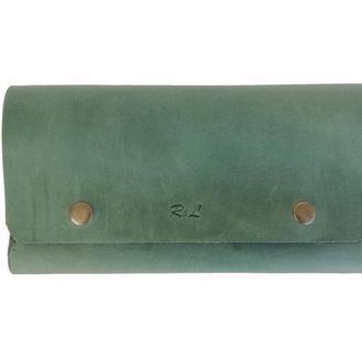 Женский зелёный кожаный бумажник х4 (10 цветов)