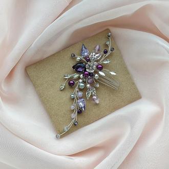 Свадебное украшение для волос, веточка в прическу, гребень, фиолетовое украшение на выпускной