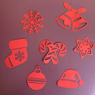 Фигарная высечка из картона, Новогодний набор, вырубка из картона, декор для скрапбукинга