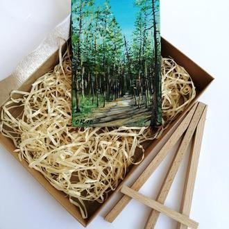 Картина масло сосновый бор, Картина миниатюра с соснами, Сосновый лес картина, Картина на подарок