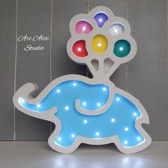 Ночник Слоник с шариками из дерева для детской комнаты