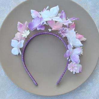 Обруч с бабочками для девочки Ободок с фиолетовыми ,белыми ,розовыми бабочками