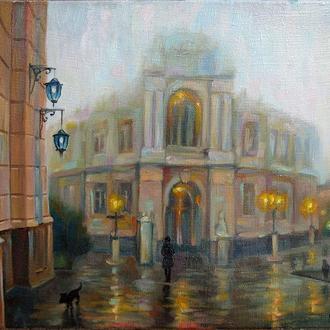 """Картина маслом """"Оперный в тумане"""" 45х35см."""