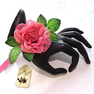 """Цветочный браслет на руку  из ткани """"Коралловая чайная роза"""""""