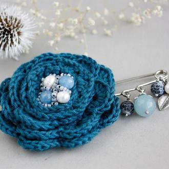 Синяя бохо брошь цветок на булавке Брошь булавка с камнями для пальто, свитера, шарфа