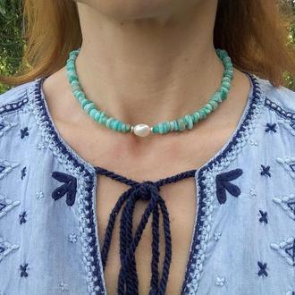 """Колье-Чокер""""Морской бриз"""" - короткое ожерелье из натурального Амазонита с речной Жемчужиной"""