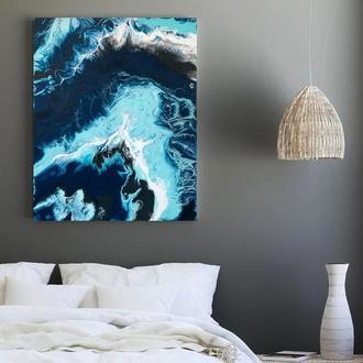 """Темна стильна абстракція """"Шторм"""" 40х50 см інтер'єрна картина акрил полотно море океан"""