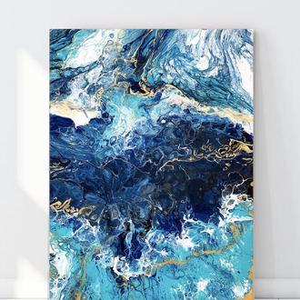 """Картина абстракция """"Deep ocean"""" размер 70х50 см море акрил авторская интерьер декор подарок холст"""
