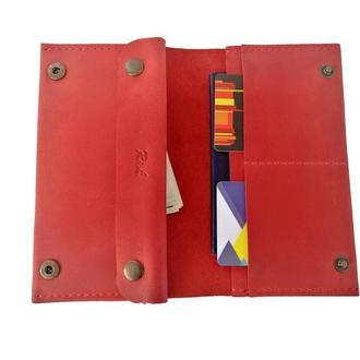 Красный женский кошелёк из натуральной кожи х6 (10 цветов)
