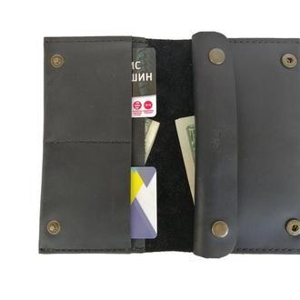 Чёрный женский кошелёк из натуральной кожи х6 (10 цветов)