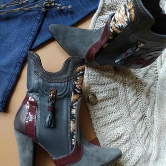 Демисезонные женские ботиночки на каблуке из натуральной кожи.