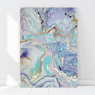 """Картина """"Marshmallow"""" розмір 70х50 см абстракція поталь золото полотно подарунок офіс акрил"""