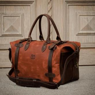 Коричневая большая дорожная сумка, Спортивная кожаная сумка саквояж