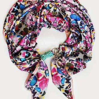 """Шелковый платок  """"Голубые бабочки """" от бренда my scarf, шейный платок, подарок женщине"""