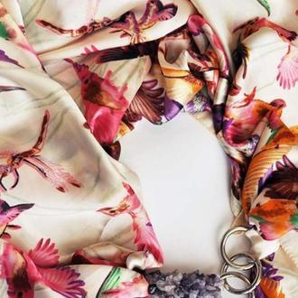 """Шелковый платок """"Розовые колибри """" от бренда  my scarf,  подарок женщине"""