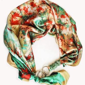 """Шелковый платок  """"Изумрудный шелк"""" от бренда my scarf, шейный платок, подарок женщине"""