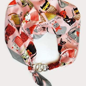 """Дизайнерский  платок  """"Розовые коты"""" my scarf, шейный платок, подарок женщине"""