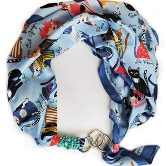 """Дизайнерский латок """"Голубые коты"""" от бренда  my scarf, шейный платок, подарок женщине"""