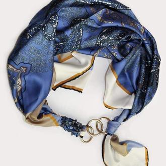 """Шелковый платок """"Голубые незабудки """" my scarf, шейный платок, подарок женщине"""