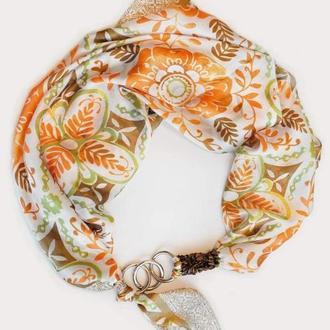 """Шелковый платок  """" Осенние узоры"""" от бренда my scarf, шейный платок, подарок женщине"""