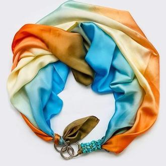 """Шелковый платок  """"золотые облака """"  , шейный платок, подарок женщине"""
