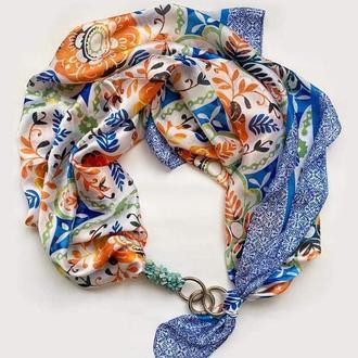 """Шелковый платок """"Голубая лазурь"""" от бренда my scarf, шейный платок, подарок женщине"""