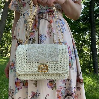 Маленькая белая сумочка на событие, сумка на свадьбу, клатч женский, сумочка на выпускной