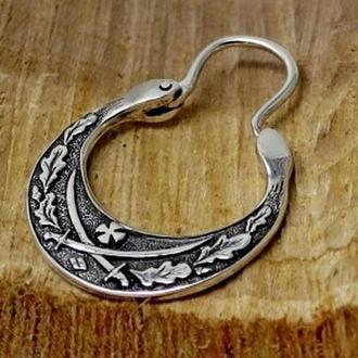 Сережка козацька ′ШАБЛІ′ (середня, двостороння, срібло)