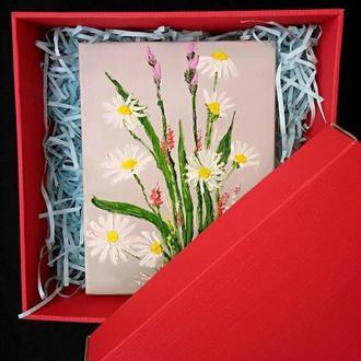 Картина маслом «Букет с ромашками» 18х24, в подарочной коробке