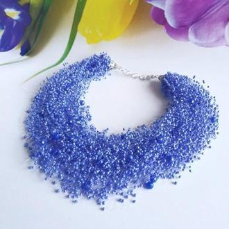 Красивое воздушное колье Ожерелье ручной работы из бисера Колье на подарок