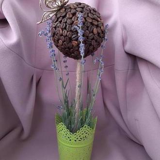 Кофейный топиарий с лавандой и бабочкой в технике джутовая филигрань. Декор. Подарок.