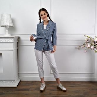 Женский пиджак из натурального льна на подкладке