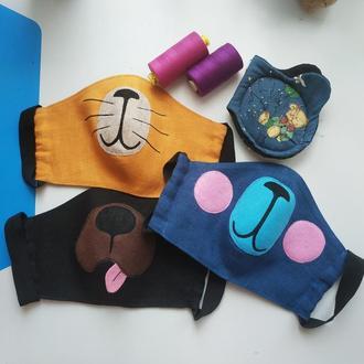 Забавные маски для лица лен
