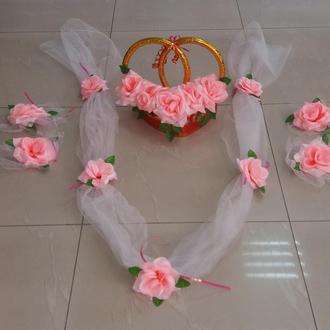 Розовый свадебный комплект для украшения машины