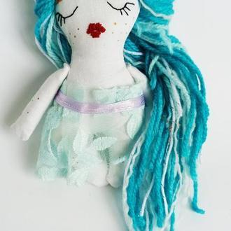 Интерьерная кукла-фея сплюшка в платье вышивка роспись по ткани