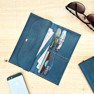 Кожаный женский кошелек Mr.Brown Blue с отделением для мелочи
