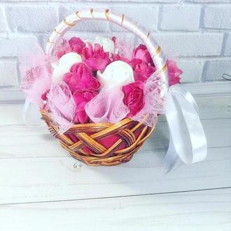 Сувенирное мыло , маленькая корзинка роз