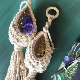 Подвесные кашпо макраме, гнездышка, для цветов, подвесные кашпо