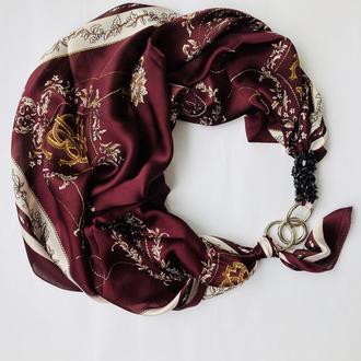 """Шелковый платок """" Марсала """" my scarf, шейный платок, подарок женщине"""