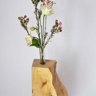 ваза из дерева, ваза для цветов, подставка для цветов, ваза из колб, подарок девушке
